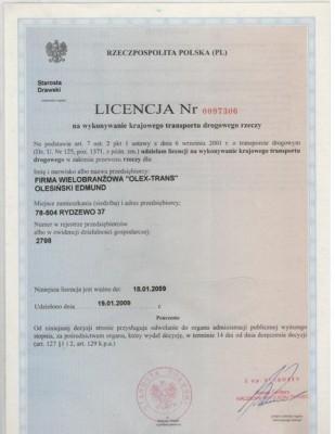 Road transport license
