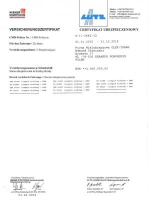 Certificate of insurance in international traffic